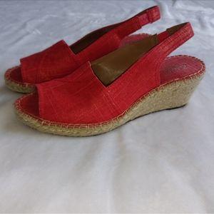 Clarks Artisan Red Espedrille Wedge Sandals